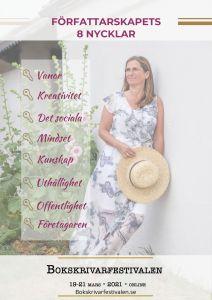 Bokskrivarfestivalen 2021, tema Författarskapets 8 nycklar, Jeanette Niemi, Kreationslotsen - din skrivcoach och Skrivradion