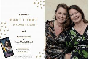 Bokskrivarfestivalen 2021, Workshop dialog, Jeanette Niemi, Kreationslotsen - din skrivcoach och Skrivradion