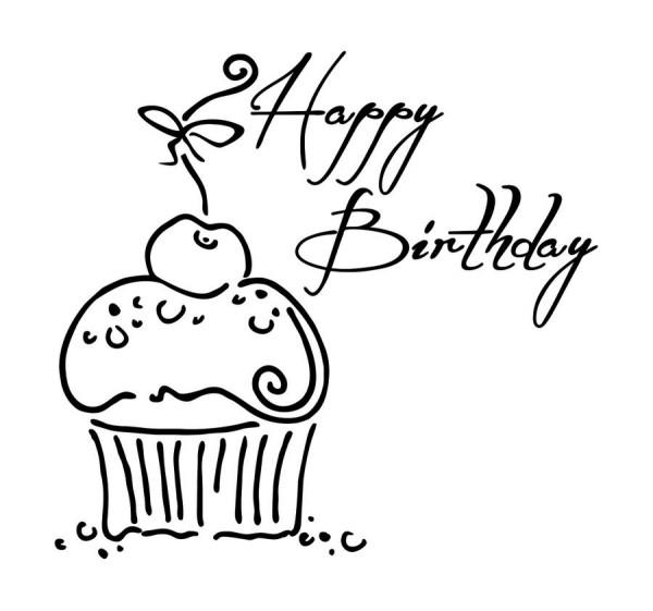 Stempel Happy Birthday Muffin 75x70mm  KreativDepot