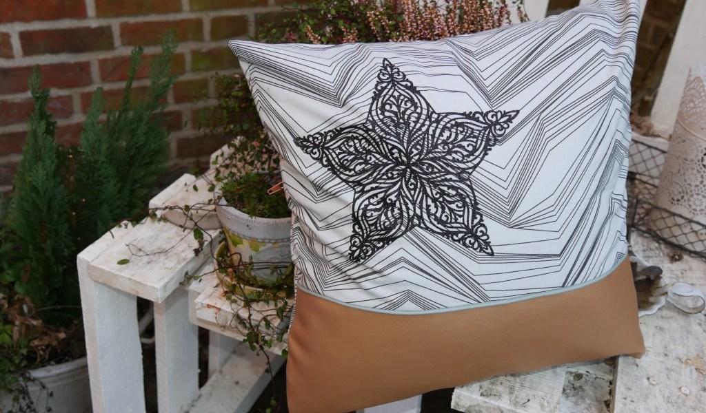 Sofakissen 40x40 selbstgenäht Stoff von Stoff & Stil Endlosreißverschluss von Snaply mit filigranem Stern von Miriam Kreativ