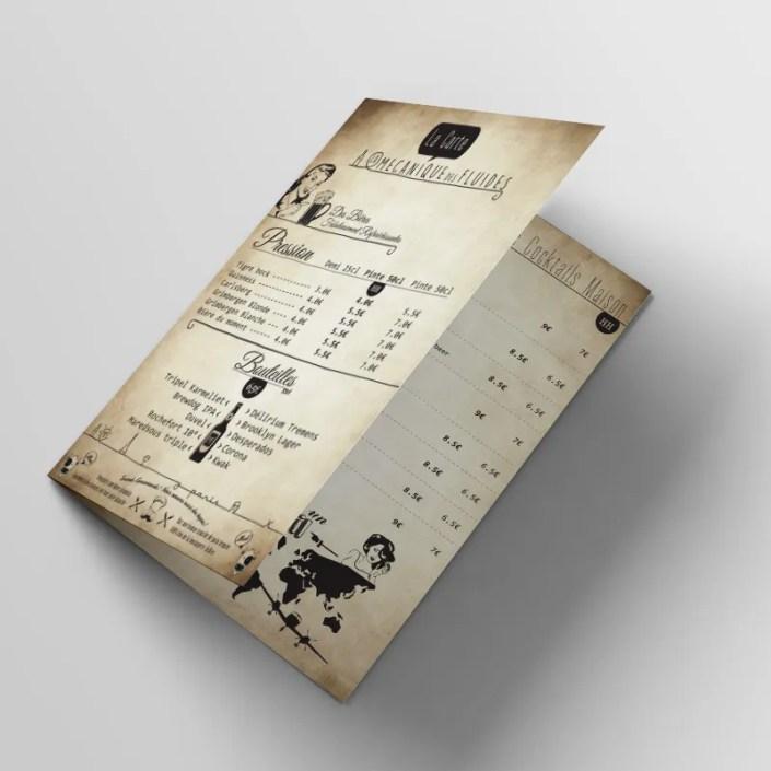 Cédric Darrigrand Graphiste Mimizan Landes 40 - Carte Menu Bar Restaurant - La Mécanique des FLuides