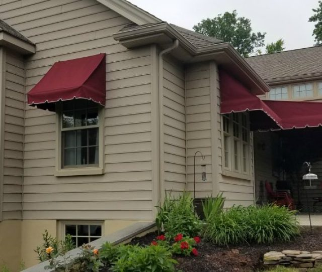 Dubonnet Tweed Burgundy Sunbrella Patio Canopy With Complimentary Window Awnings
