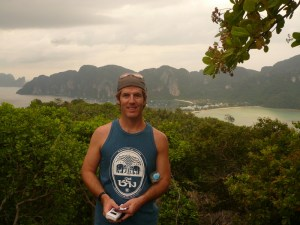 Kevin had a chance to take a hike on Phi Phi Island.  Here he is overlooking the double-sided bay.