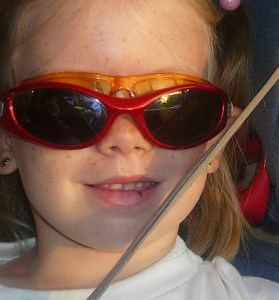 On the way to school, Gigi had her game face--oh and two pairs of glasses. We listened to Galvanize, by the Chemical Brothers to get even more pumped!