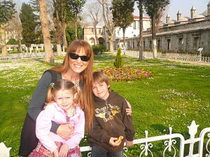 Caron with the kiddos in the gardens of the Blue Mosque.