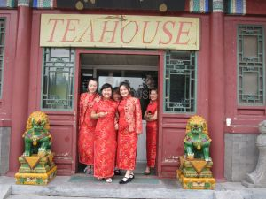 We arrived to the Temple of Heaven hungry.  These cute ladies guided us to our lunch spot prior to entry to the park.