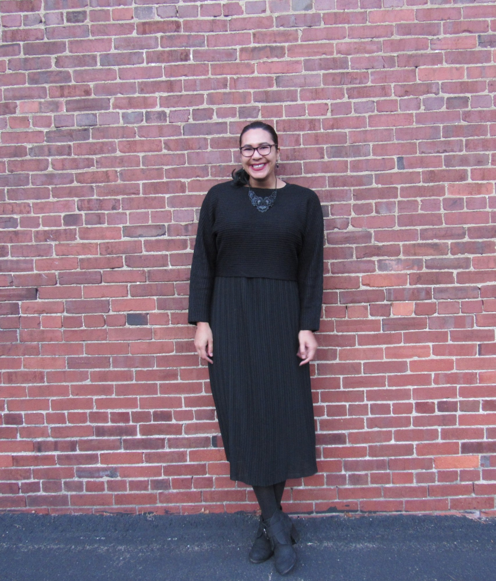 gracey the  giant in pleated chiffon dress, piperlime sweater, ON necklace & splendid boots