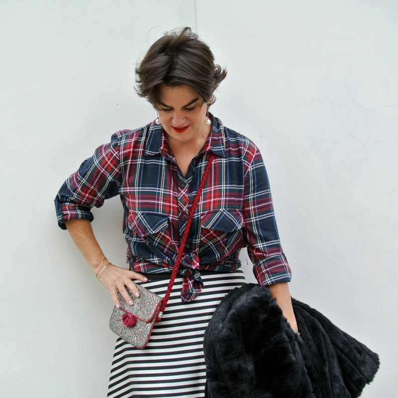2ce15b7b20 Plaid Shirt paired with a (P)leather pencil skirt: