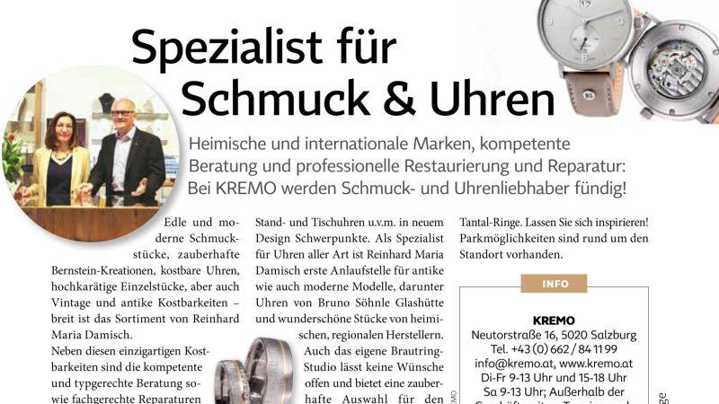 Salzburger Juwelier KREMO kreativ modern Anzeige Salzburgerin 2018 Trauringe,Eheringe Uhren, Schmuck und Ankauf Gold Silber