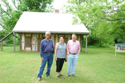 Donald Gallion, Theresa Delphin-Morgan and Dr. Hiram Gregory, Professor of Archaeology at the Northwestern State University of Louisiana in front of the Badin-Roque House.