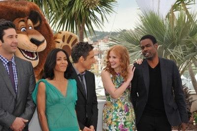 """David Schwimmer, Jada Pinkett Smith, Ben Stiller, Jessica Chastain & Chris Rock at the photocall for """"Madagascar 3: Europe's Most Wanted"""""""