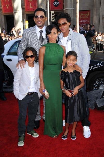 Will Smith with Jada Pinkett Smith with their children.