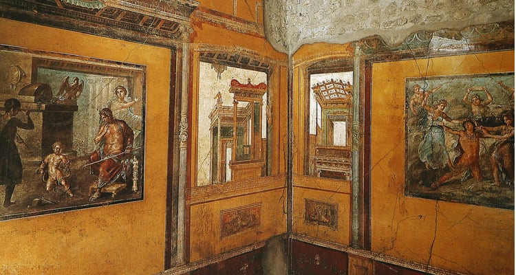 Frescoes in the Ruins of the old city of Pompeii
