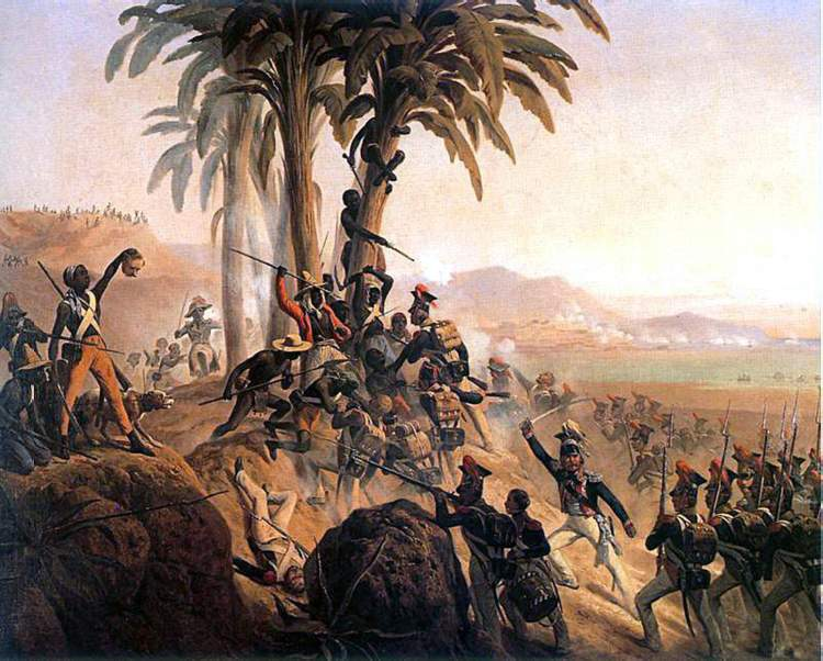 Battle at San Domingo. A painting by January Suchodolski, depicting the struggle between Polish troops in French service and the Haitian rebels.
