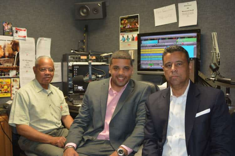"""Donald Cravins with his son Dustin (centre) and brother Charles (right) hosting """"The Cravins Brothers Zydeco & Info Show"""", a radio program on KFXZ Z105.9FM (Carencro, LA, Sundays 9am-noon)"""