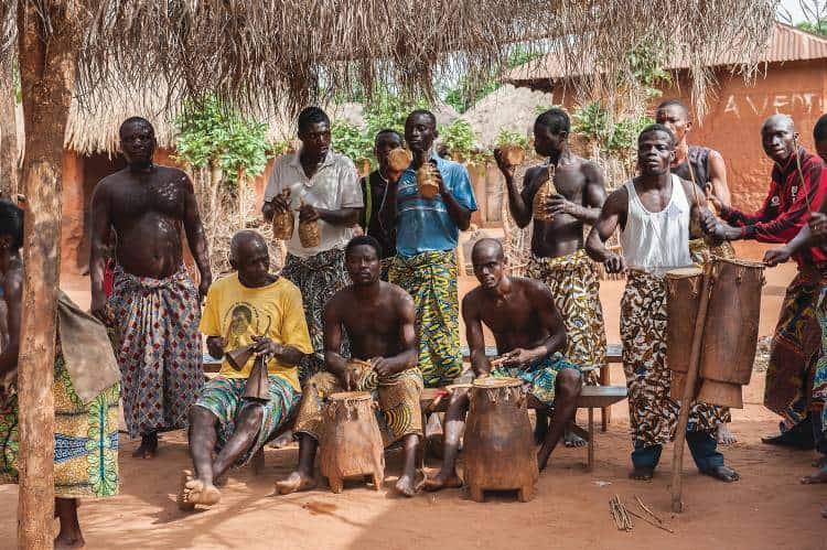 Togolese musicians play the drums