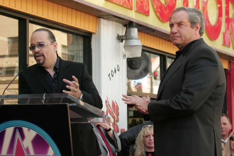 Ice-T (left) and Dick Wolf at the ceremony honoring Dick Wolf with the 2,332nd star on the Hollywood Walk of Fame. Hollywood Boulevard, Hollywood, CA. Photo: S Bukley