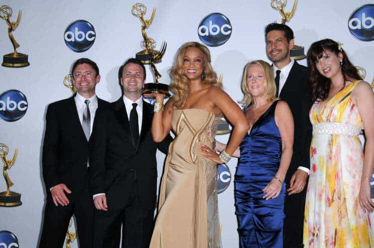 Tyra Banks (centre) in the press room at the 35th Annual Daytime Emmy Awards. Kodak Theatre, Hollywood.