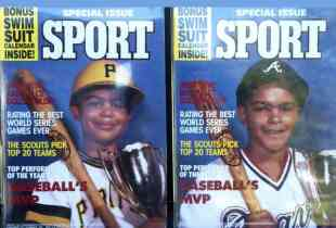 Xavier (left), aged 5, and Matt, just over 7, on the cover of sport magazine. Xavier later played in the Major League for the Pittsburgh Pirates .. (pictured in their uniForm)