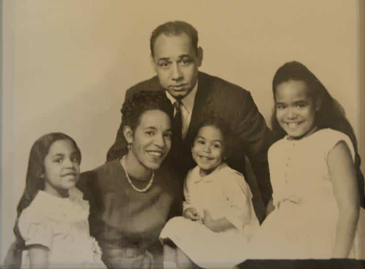 Charles Chenier with his first wife and three young daughters: circa early 1950s