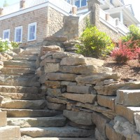 Fieldstone Boulder Wall and Steps