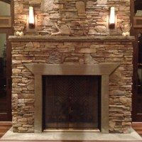 Cultured Stone Fireplace with Natural Stone Hearth and Mantle