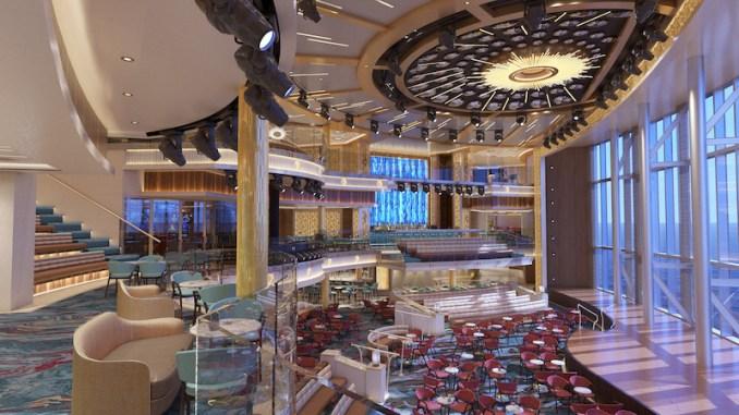 Das Atrium erstreckt sich über drei Decks. Grafik: Carnival Cruise Line