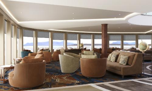 Die Observatory Lounge bietet grandiose Ausblicke auf die Landschaften. Grafik: nicko cruises