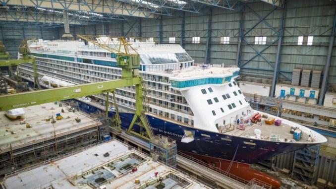 Spirit of Discovery in der Baudockhalle. Foto: Meyer Werft/ Michael Wessels