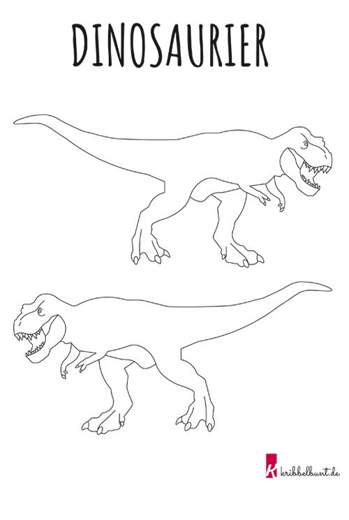 T-Rex Ausmalbild » PDF Malvorlage Kribbelbunt
