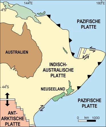 Neuseeland in seiner heutigen Lage
