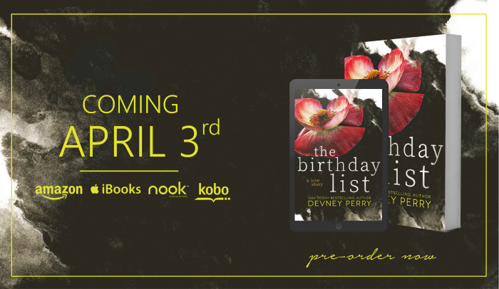 COVER REVEAL: THE BIRTHDAY LIST by Devney Perry