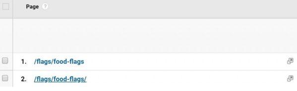 Example of Duplicate URLs in Google Analytics with Trailing Slash