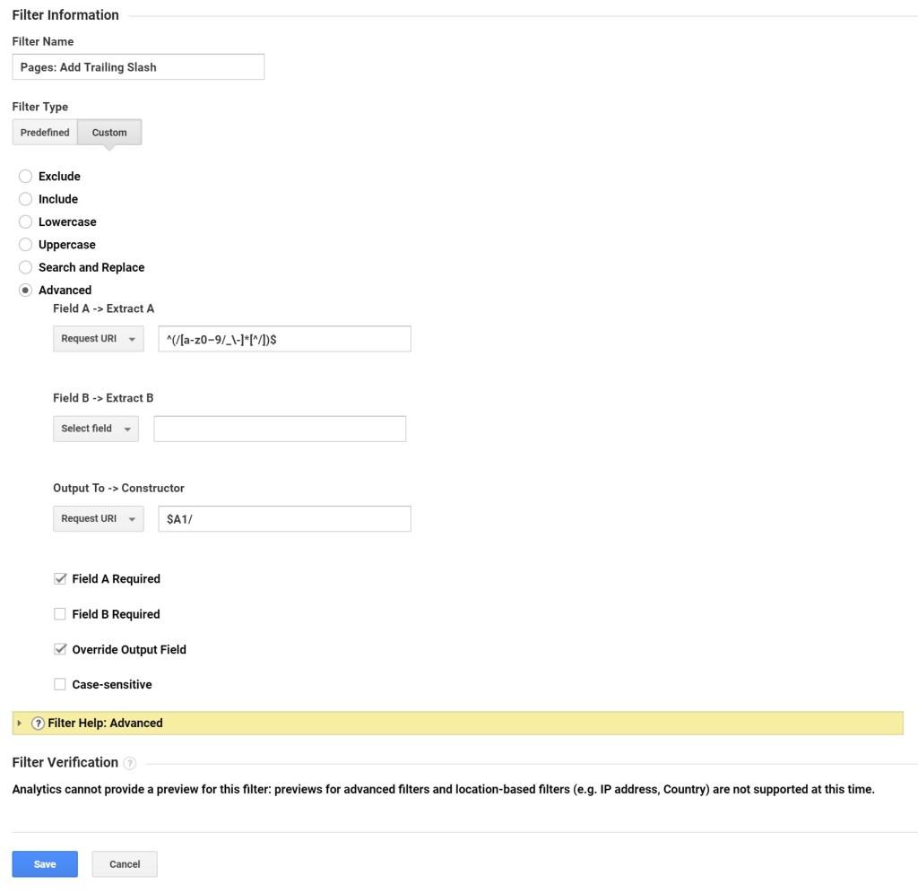 Custom GA Filter to Fix Trailing Slash Duplicate URLs