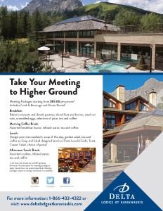 Delta Lodge at Kananaskis Higher Ground Meetings Flyer