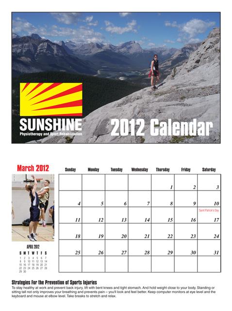 Sunshine Calendar 2012