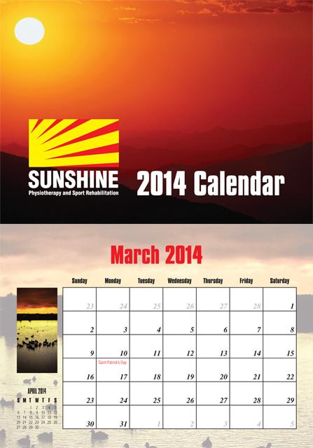 Sunshine Calendar 2014