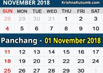 Panchang 01 November 2018