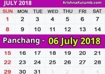 Panchang 06 July 2018