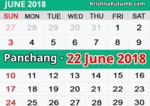 Panchang 22 June 2018