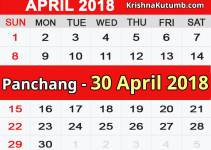 Panchang 30 April 2018