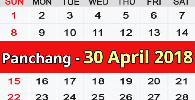 Panchang 30 April 2018