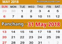 Panchang 31 May 2018