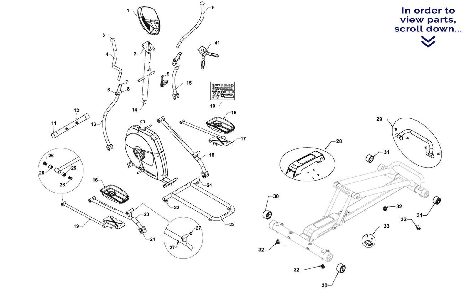 Schwinn A40 Elliptical Repair Parts