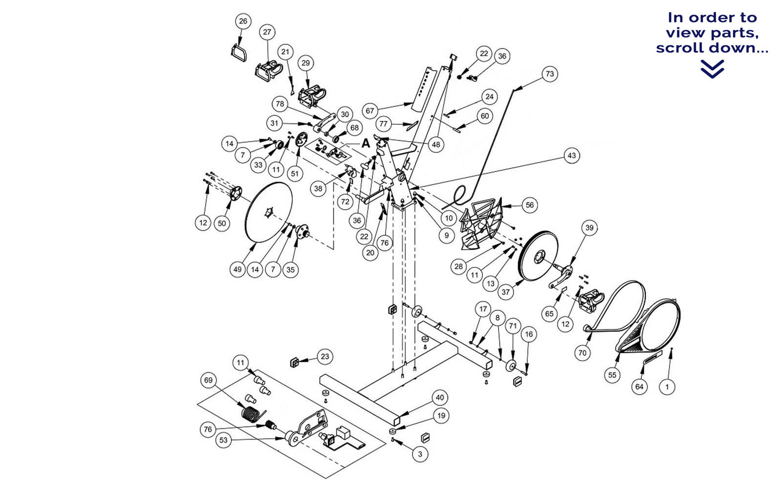 hight resolution of a complete table of available keiser bike parts is directly below the diagram numbers next to the name of each part correspond to the numbers in the