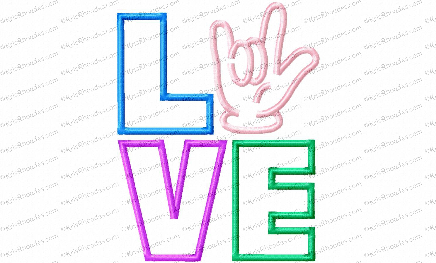 LOVE Stacked with Sign Language Applique Embroidery Design