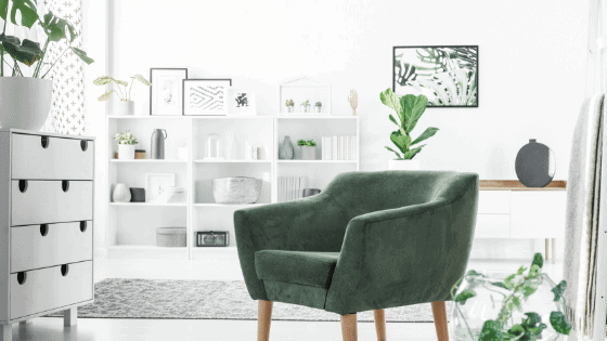 Green Chair with White Bookshelves
