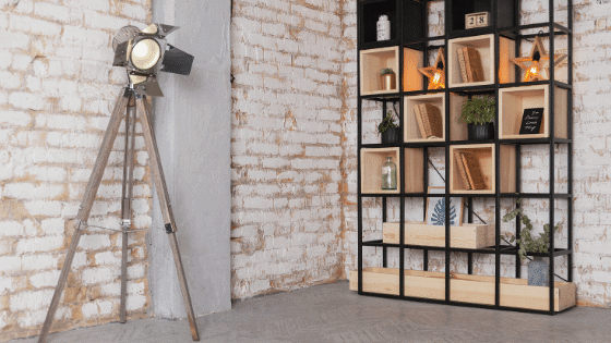 Industrial Room with Bookshelves
