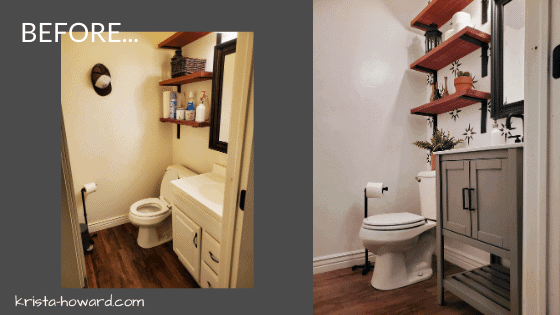 Powder Room Renovation Before and After