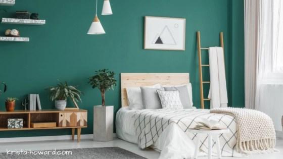 Boho Bedroom with Green Wall